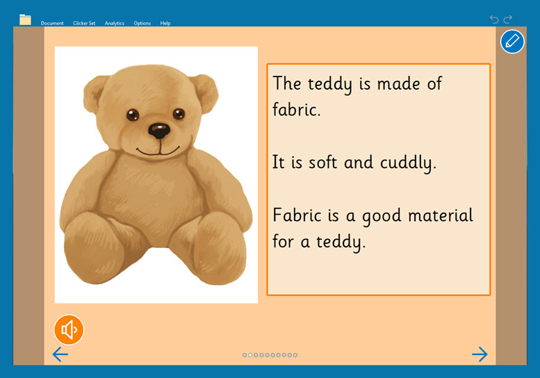 touch - good materials for toys clicker book