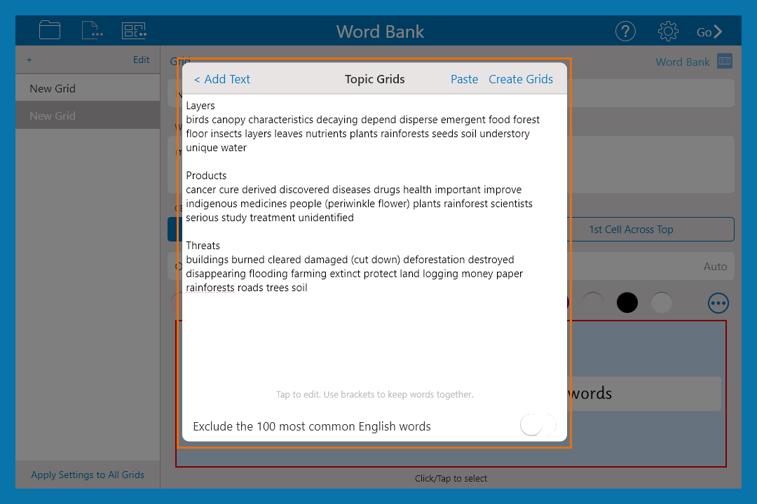 create a word bank